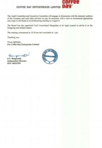 After VG Siddhartha's death, SV Ranganath appointed interim chairman
