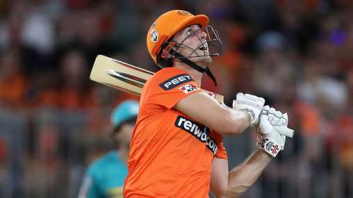 SRH elated after Mitchell Marsh hits hat-trick of sixes in BBL | Watch