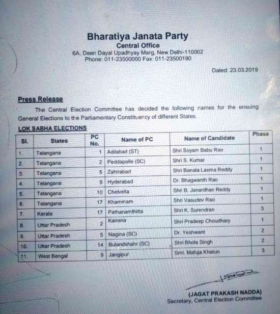 India Tv - BJP releases list of 11 candidates
