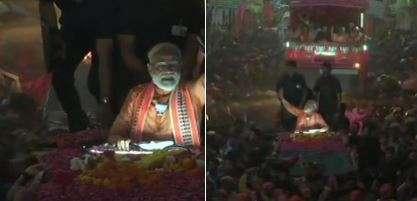 India Tv - More visuals from PM Modi's mega roadshow in Varanasi