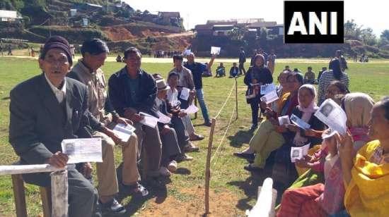 India Tv - People queue to cast votes inManipur