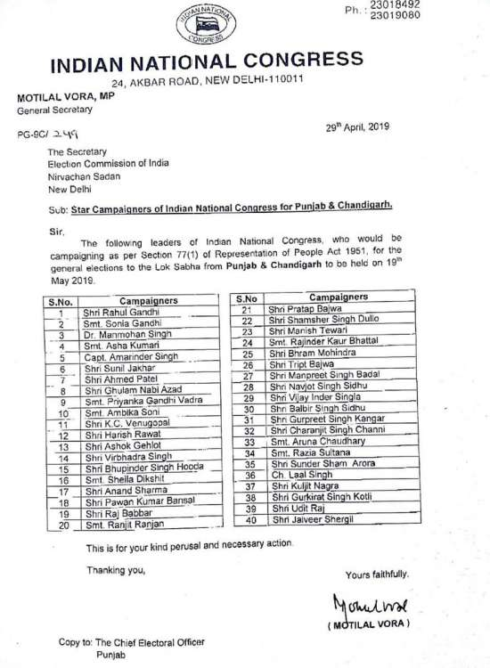 India Tv - Congress releases list of star campaigners