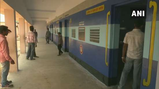 India Tv - Polling station in Ramgarh gets looks of coaches of a train