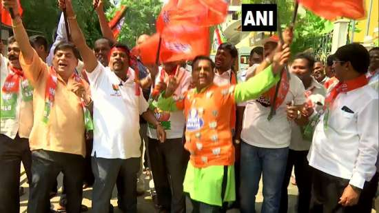 India Tv - Celebrations outside BJP office in Bengaluru