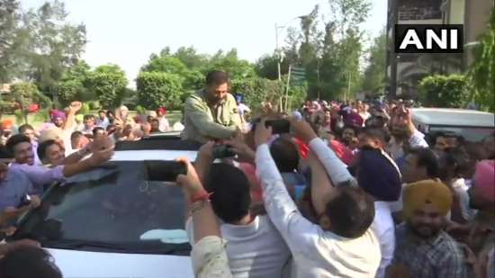 India Tv - Sunny Deol meets supporters inGurdaspur