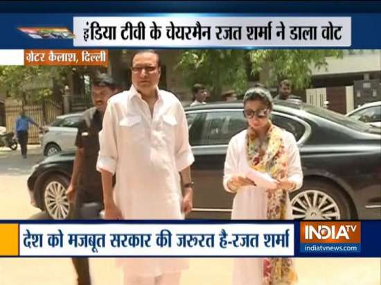 India Tv - Delhi: India TV Chairman and Editor-In-Chief Rajat Sharma casts vote