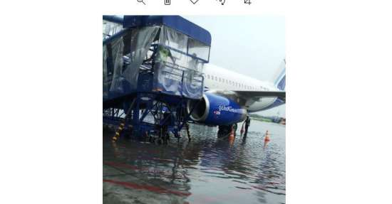 India Tv - The scene at Kolkata airport after heavy rains continued to lash the city.