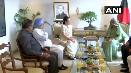 India Tv - Congress stalwarts meet Bangladesh PM Sheikh Hasina