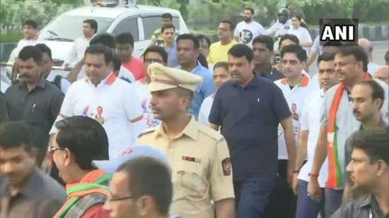 India Tv - Maharashtra Chief Minister Devendra Fadnavis at Marine Drive for 'Mumbai Chalali BJP sobat event
