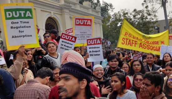 India Tv - DUTA protests outside vice-chancellor's office