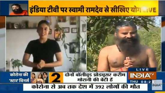 India Tv - Zoa Morani joins Swami Ramdev on India TV