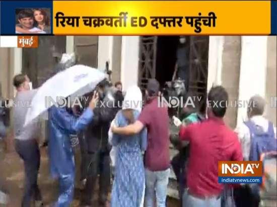 India Tv - Rhea Chakraborty reaches ED office for recording h