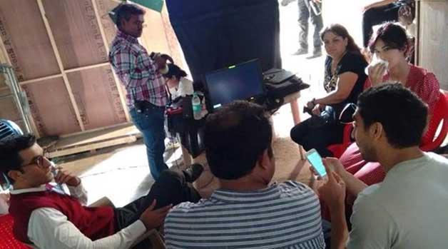 India Tv - Ranbir and Katrina at Jagga Jasoos set. Ayan Mukerji sitting at right hand side.