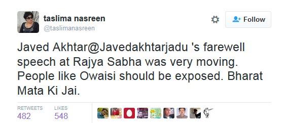 India Tv - Taslima Tweet