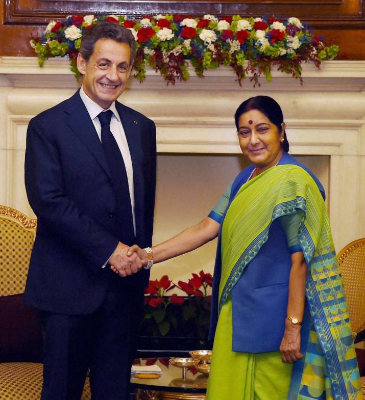 French president Nicolas Sarkozy with Sushma Swaraj