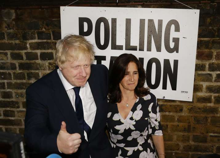 British MP Boris Johnson and his wife Marina after voting