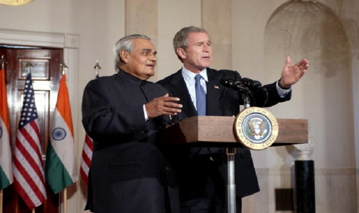 India Tv - Former PM Atal Bihari Vajpayee with former US President George Bush, 2000