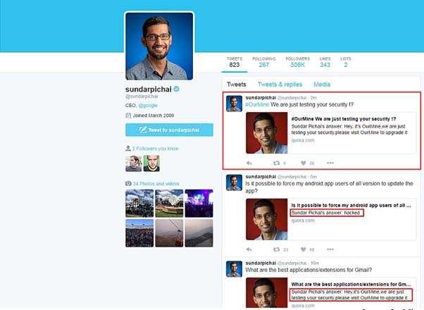Google CEO Sundar Pichai's Quora account hacked | India News