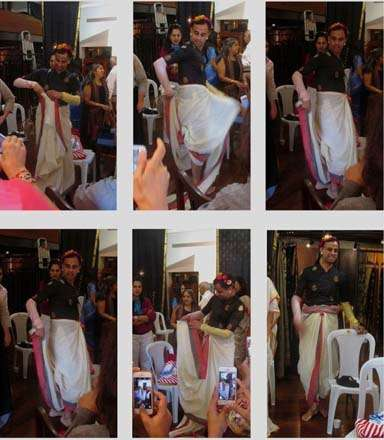 India Tv - The saree man, Himanshu Verma teaching people how to drape a saree