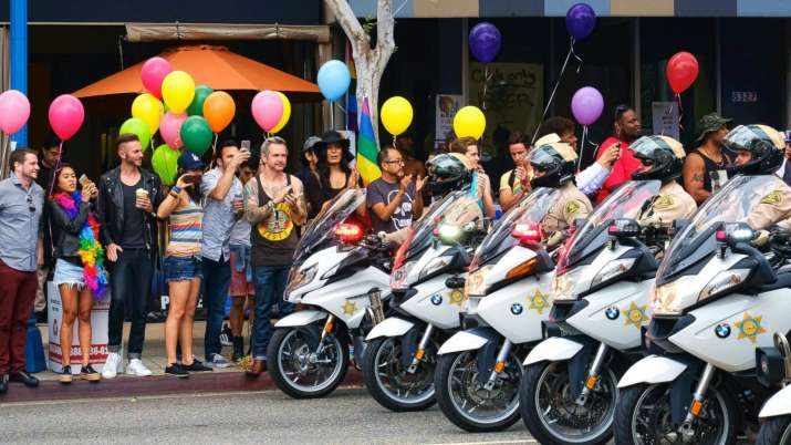 Police ride during the Gay Pride Parade in West Hollywood,