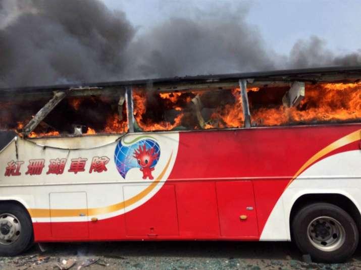 Taiwan tourist coach catches fire