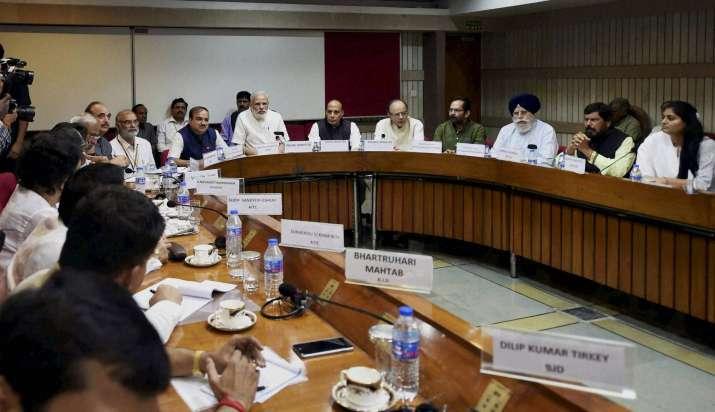 India Tv - PM Modi, Rajnath Singh, Arun Jaitley, Anant Kumar along with Congress leaders.