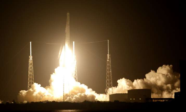 The Falcon 9 SpaceX rocket lifts off from launch