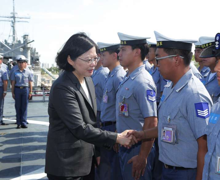 Taiwan's President aboard a Navy ship before it sets out to