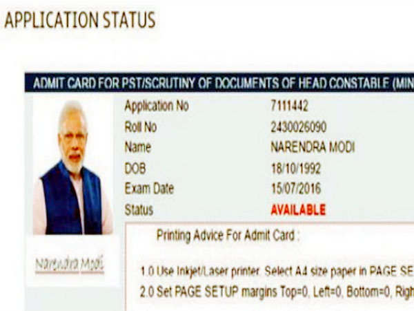 India Tv - Admit card issued to Narendra Modi for CRPF recruitment