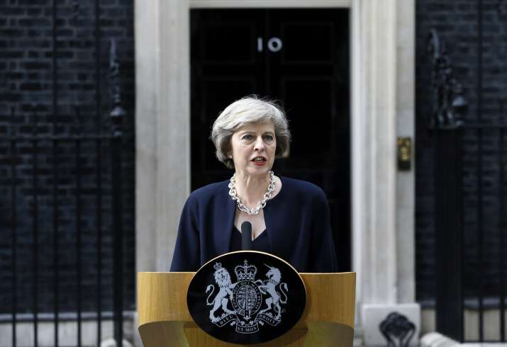 British Prime Minister Theresa May outside her residence 10
