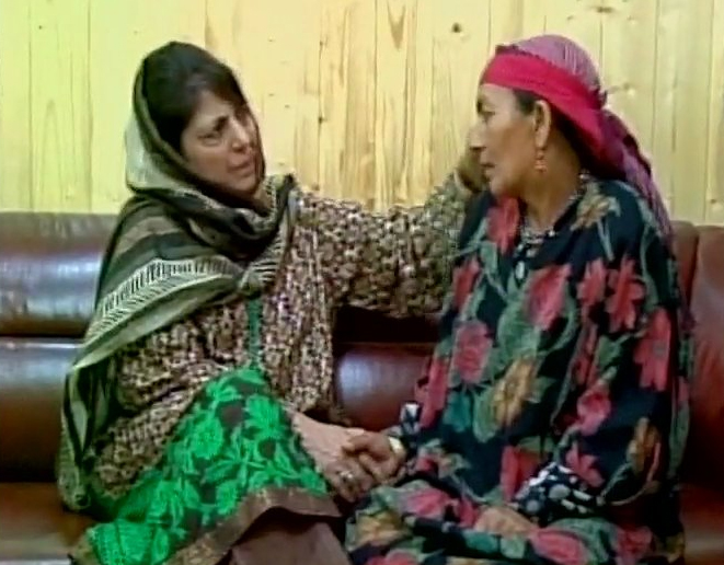 CM Mehbooba Mufti with a Kashmiri mother.