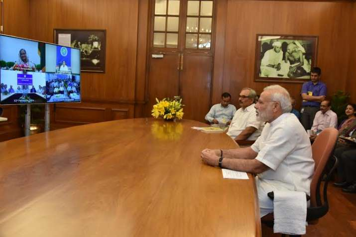 Narendra Modi and Sheikh Hasina in a video conference