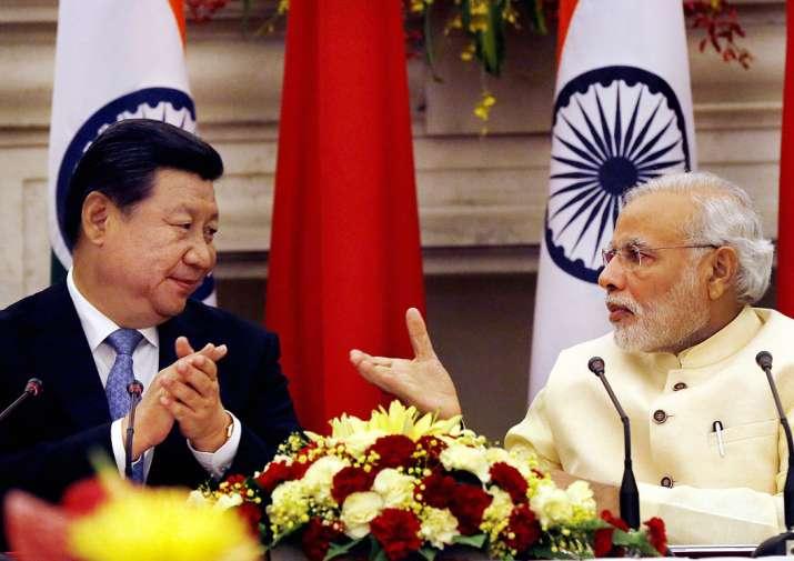 PM Narendra Modi with Chinese Xi Jinping