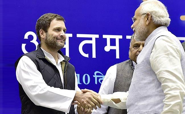 Narendra Modi with Rahul Gandhi