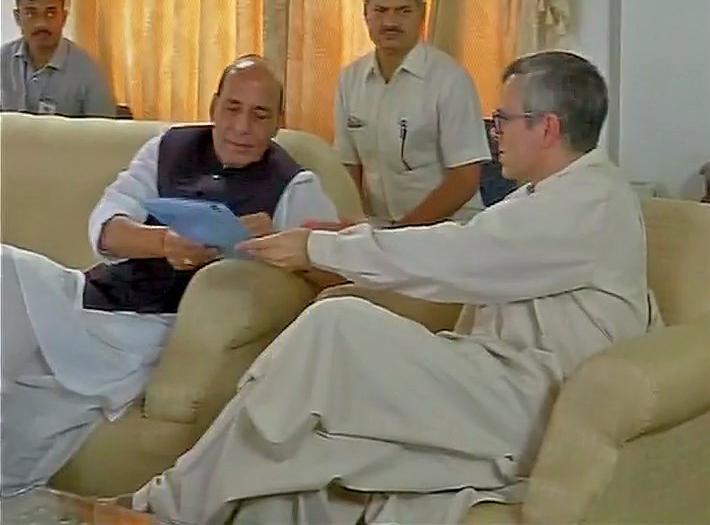 Omar Abdullah with Rajnath Singh