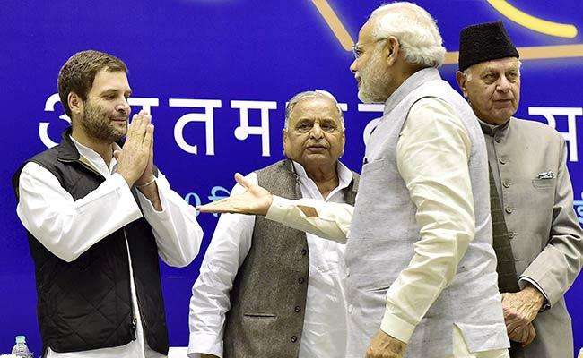 Rahul Gandhi with Narendra Modi