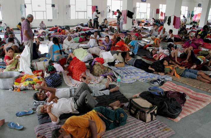 Amaranth pilgrims at a base camp in Jammu on Friday