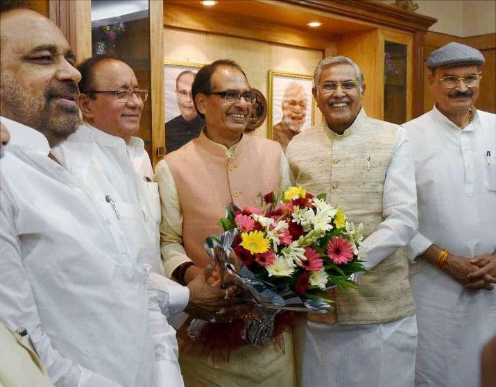 Madhya Pradesh CM Shivraj Singh Chouhan with Speaker Sita