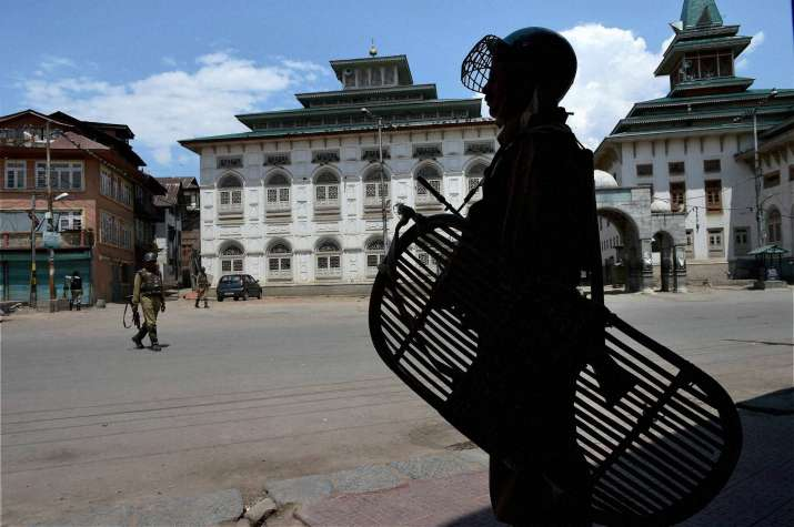 CRPF jawans stand guard during curfew and strike for the