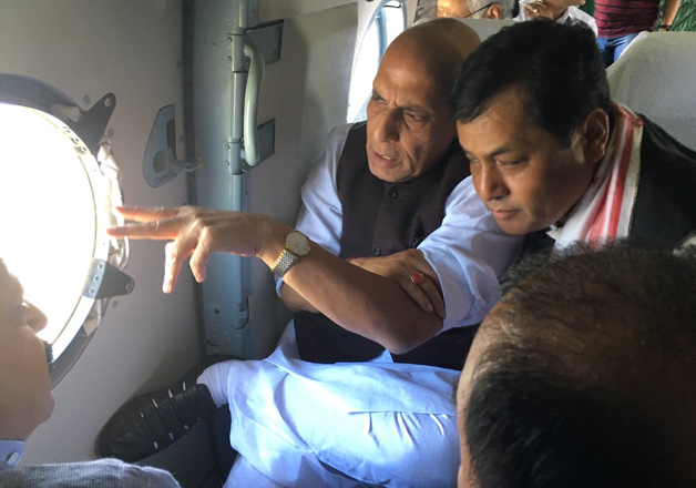 Rajnath Singh undertakes aerial survey of flood hit areas