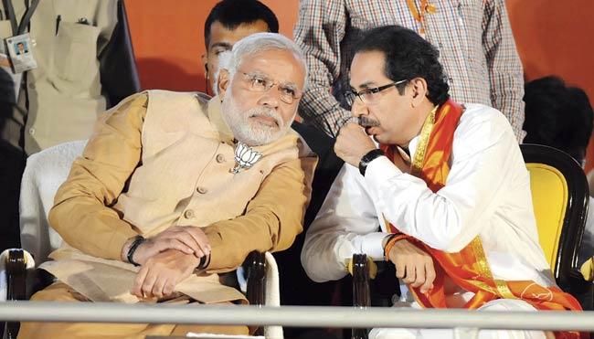 PM Narendra Modi with Shiv Sena chief Udhhav Thackeray