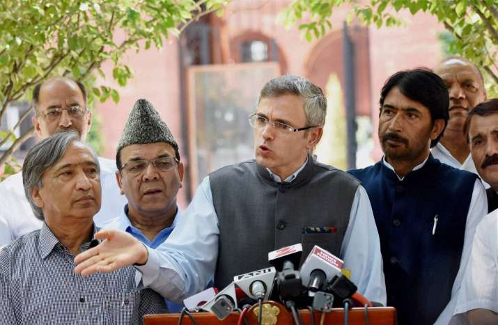 Former Jammu and Kashmir CM Omar Abdullah after meeting PM