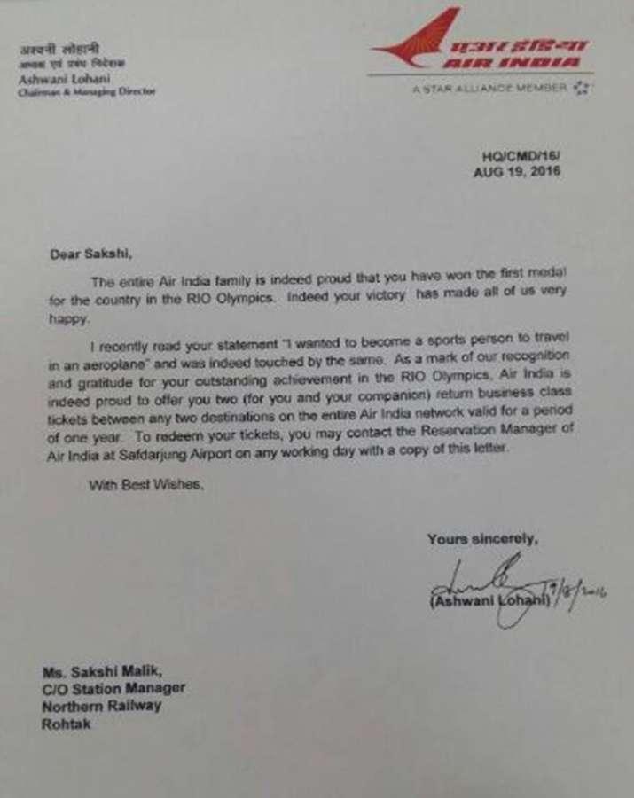 India Tv - Air India's letter to Sakshi Malik