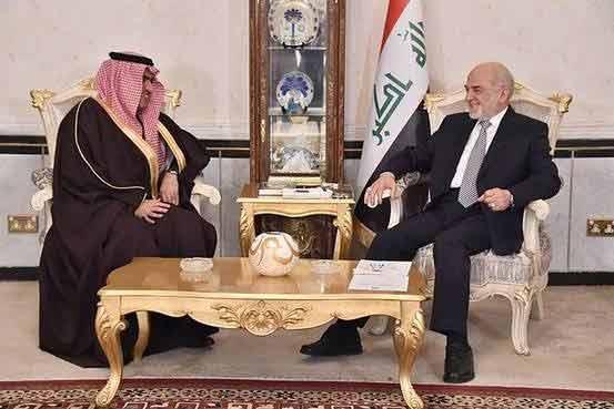 Iraqi Foreign Minister Ibrahim al-Jaafari, right, meets