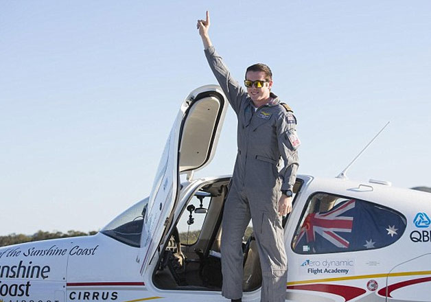 Lachlan Smart, 18, has become the youngest person to fly