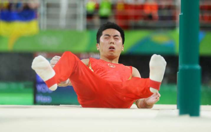Chinese gymnast You Hao after falling during the men's