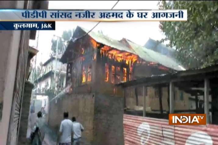 House of PDP's Rajya Sabha MP Nazir Ahmad set on fire by