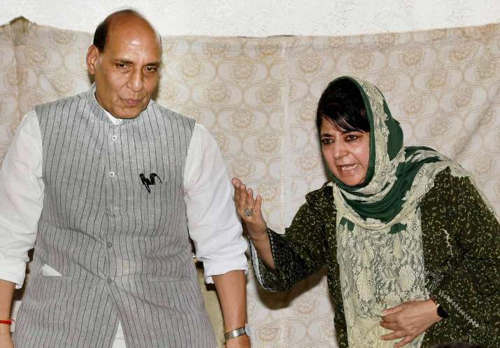 Mehbooba Mufti and Rajnath Singh at a joint press