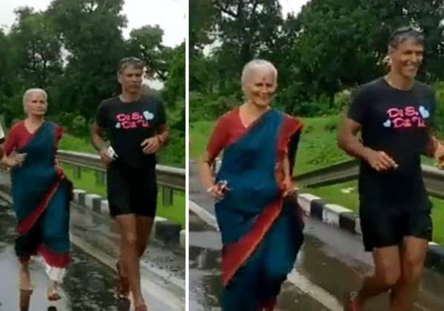 Milind Soman with his mother Usha Soman