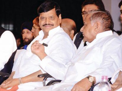 Mulayam Singh Yadav with Shivpal Yadav